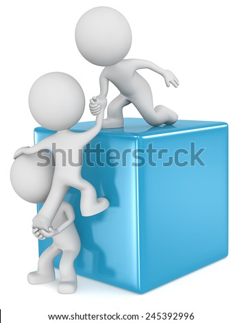 Helping hands. The dude 3D character x3 climbing a Blue Cube. - stock photo