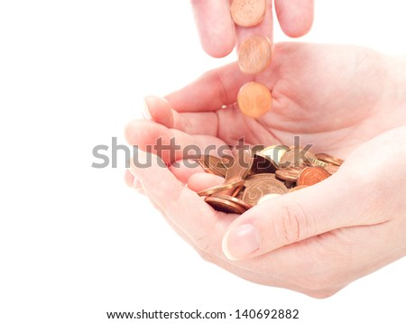 Helping people by making a small donation - stock photo