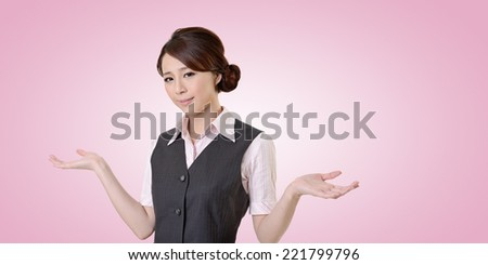 Helpless young business woman shrugs her shoulders. closeup portrait with clipping path. - stock photo