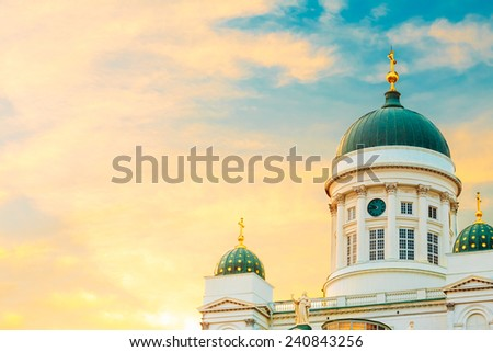 Helsinki Cathedral, Helsinki, Finland. Close Up Dome At Summer Sunset Evening With Dramatic Sky - stock photo