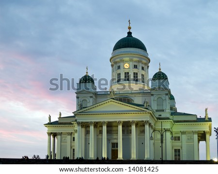 Helsinki cathedral in sunset front view facade