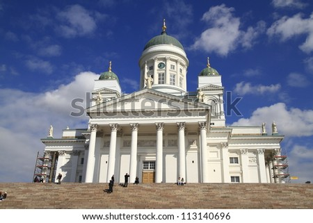 Helsinki Cathedral is the Finnish Evangelical Lutheran cathedral of the Diocese of Helsinki - stock photo