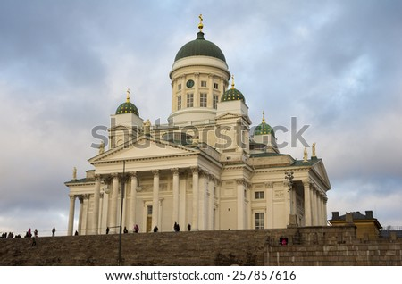 Helsinki Cathedral, the Finnish Evangelical Lutheran cathedral of the Diocese of Helsinki, Finland. It was also known as St Nicholas' Church until 1917 - stock photo