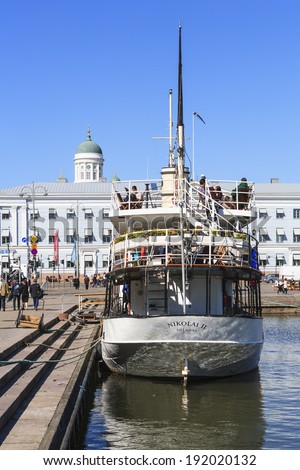 HELSINKI, FINLAND - APRIL 22, 2014: Boat Nikolai II is a restaurant in Helsinki.