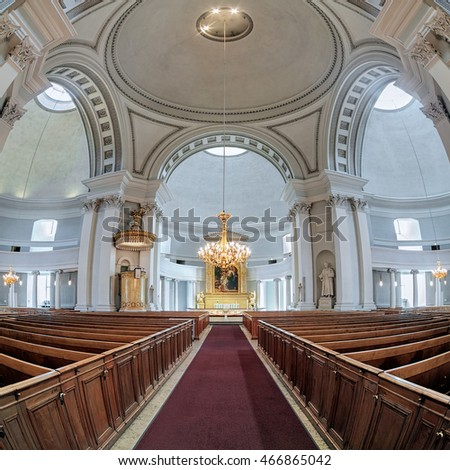 HELSINKI, FINLAND - APRIL 4, 2016: Interior of Helsinki Cathedral. The cathedral was designed by Carl Ludvig Engel in the neoclassical style, later altered by Ernst Lohrmann, and built in 1830-1852.