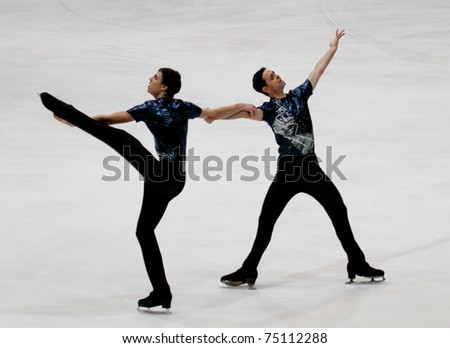 HELSINKI FINLAND - APRIL 9: Team Les Atlantides, of France, competes in the 2011 World Synchronized Skating Championships 2011 on April 9, 2011 in Helsinki, Finland.