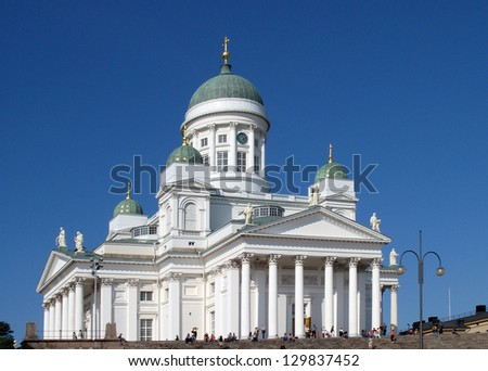 HELSINKI, FINLAND - AUGUST 21: Helsinki Cathedral on August 21, 2007 in Helsinki, Finland. This cathedral is an Evangelical Lutheran church of the Diocese of Helsinki. - stock photo