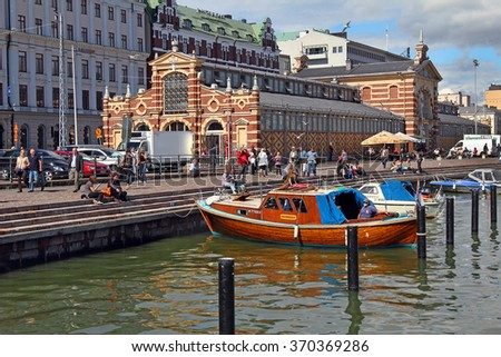 HELSINKI, FINLAND - AUGUST 12: Old Port in central Helsinki on August 12, 2011, Finland. Helsinki is the capital of Finland. - stock photo