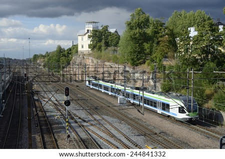 HELSINKI, FINLAND - AUGUST 15, 2014: Railway junction at the central railway station in Helsinki. - stock photo
