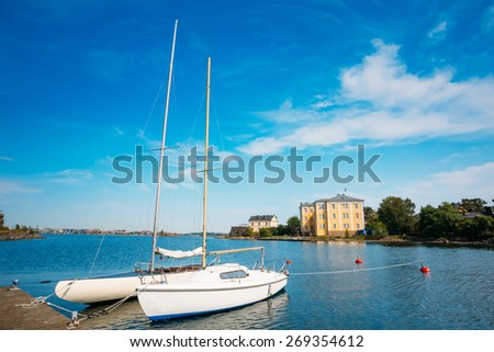 Helsinki, Finland. Harbour And Quay Yacht Stand At Pier, Jetty In Summer Day - stock photo
