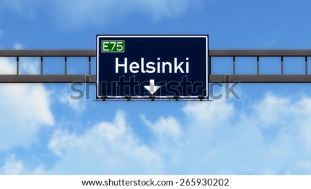 Helsinki Finland Highway Road Sign - stock photo