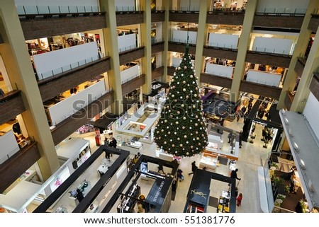 HELSINKI, FINLAND -1 JAN 2017- Inside the Stockmann department store building, located in the center of Helsinki, with Christmas holiday decorations. It is the largest department store in Finland.