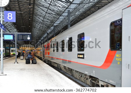 HELSINKI, FINLAND - JANUARY 9, 2016: Central railway station serves as point of origin for all trains in local VR commuter rail network, as well as for large proportion of long-distance trains