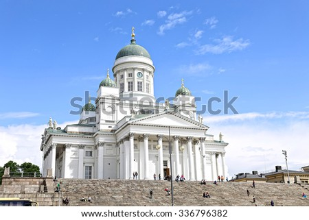 HELSINKI, FINLAND - JULY 07, 2015: Cathedral of St. Nicholas (Cathedral Basilica)