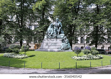 HELSINKI, FINLAND - JULY 10, 2015: Monument Elias Lennrot, the collector of folk poetry and publisher of Kalevala