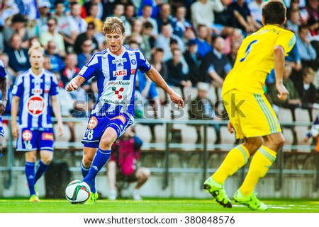 HELSINKI, FINLAND - JULY 29 2015: The UEFA Champions League 3rd qualifying round match between HJK Helsinki and FC Astana at the Sonera Stadium on July 29, 2015 in Helsinki, Finland.