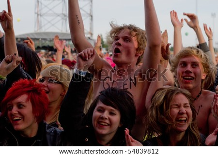 HELSINKI,FINLAND-JUNE 8:American rock guitarist, singer and songwriter Joan Jett and the Blackhearts live on stage as support for Green Day at Kylasaari in Finland on June 8,2010 in Helsinki,Finland - stock photo