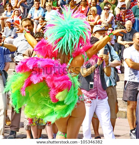 HELSINKI, FINLAND - JUNE 16: An unidentified dancer participates at the annual Samba Carnaval in Helsinki, Finland on June 16, 2012