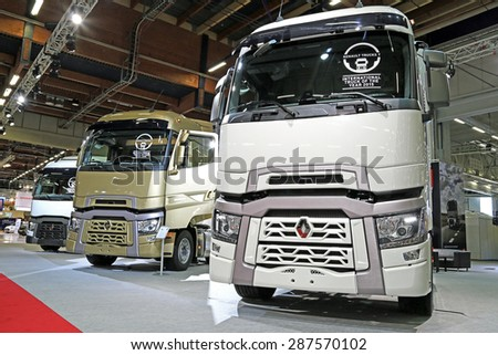 HELSINKI, FINLAND - JUNE 11, 2015:  Renault Trucks presents Range T with high sleeper cab at Logistics Transport 2015. - stock photo