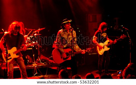 HELSINKI,FINLAND-MAY 11:American Rock/Country rock band Jason & the Scorchers from Nashville,Tennessee, USA live on stage at Tavastia,Club-#1 rock venue in Finland on May 11,2010 in Helsinki,Finland - stock photo