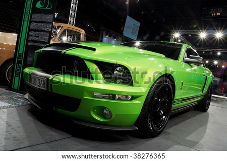 HELSINKI, FINLAND - OCTOBER 3: X-Treme Car Show, showing 2009 Ford Mustang Shelby GT500 on October 3, 2009 in Helsinki, Finland - stock photo