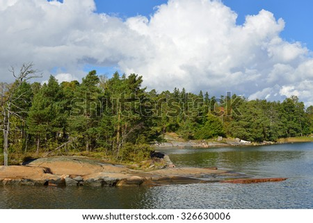HELSINKI, FINLAND - SEPTEMBER 26, 2015: Helsinki shoreline is adorned by around 100 km of coast and over 300 islands of which many are accessible for recreational use