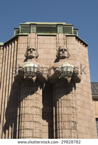 Helsinki Station with Monumental Statues - stock photo