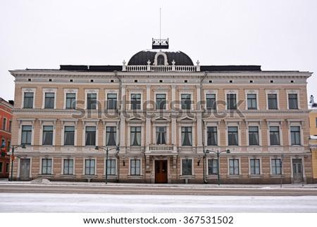 Helsinki streets at the X-Mas time - stock photo