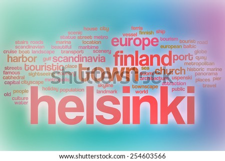Helsinki word cloud concept with abstract background - stock photo