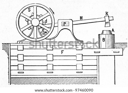"""helve-hammer - an illustration to the Article """"Power hammer"""" of the encyclopedia publishers Education, St. Petersburg, Russian Empire, 1896 - stock photo"""
