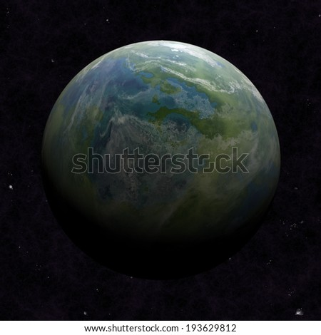 Hemisphere satellite view of a planet earth from outer space - stock photo