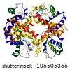 Hemoglobin molecule isolated on a white background - stock photo