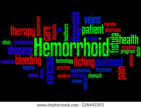 Hemorrhoid, word cloud concept on black background.