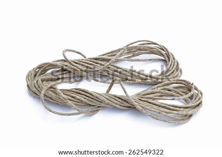 Hemp rope isolated on white - stock photo
