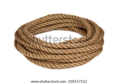 hemp rope isolated on white background - stock photo