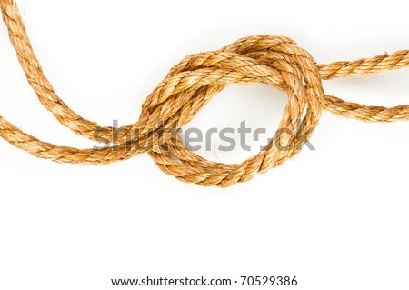 Hemp rope with knot on white background