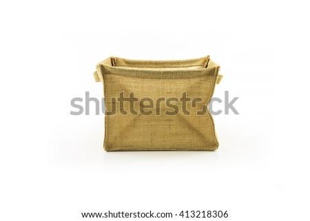 hemp sack in the shape of box on white background. - stock photo
