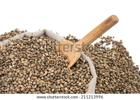 Hemp seeds in a bag with wood spoon on white background - stock photo