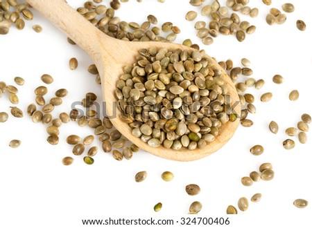 hemp seeds isolated on white - stock photo