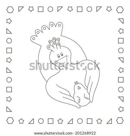 Mother Hen With Chicken Loving Hugging Her Baby Coloring Page