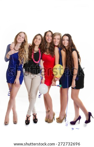 hen party young girls celebrating new years eve - stock photo