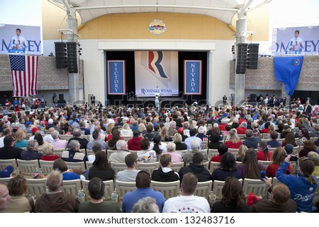 HENDERSON, NV - OCTOBER 23: Campaign rally of the Republican candidate Mitt Romney at Henderson Pavilion on October 23, 2012 in Henderson, Nevada. - stock photo
