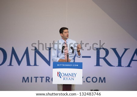 HENDERSON, NV - OCTOBER 23: Republican candidate Paul Ryan campaigns for Mitt Romney at Henderson Pavilion on October 23, 2012 in Henderson, Nevada. - stock photo
