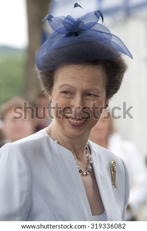 HENLEY, ENGLAND. 02-07-2010. Her Royal Highness Princess Anne, The Princess Royal arriving  on day 3 of the Henley Royal Regatta 2010 held on the River Thames.   - stock photo