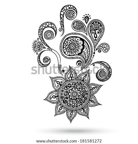 handdrawn henna mehndi tattoo flowers paisley stock vector 52861094 shutterstock. Black Bedroom Furniture Sets. Home Design Ideas
