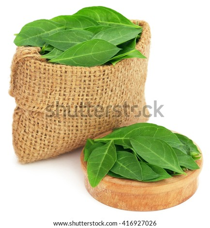 Henna leaves in sack and a wooden bowl over white background - stock photo