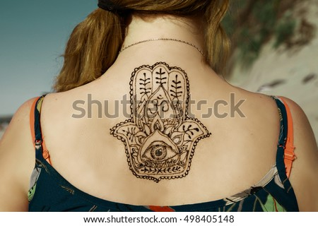Mehndi Tattoo On Back : Henna tattoo mehendy painted on back stock photo royalty free