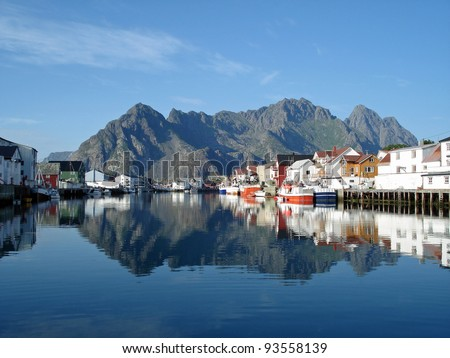 Henningsvaer, harbour and old town on the Lofoten - stock photo
