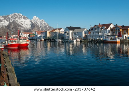 HENNINGSVAER,NORWAY - MARCH 4:The picturesque fishing village of Henningsvaer on march 4,2014.It is located on several small islands in the Lofoten archipelago at about 20km from Svolvaer.