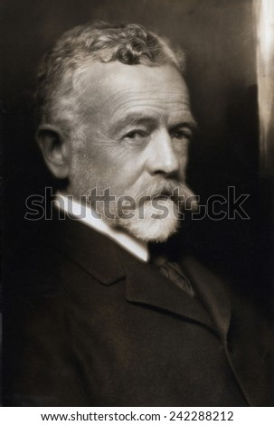 Henry Cabot Lodge (1850-1924) Republican Senator from Massachusetts from 1893 to 1924. During World War I he criticized President Wilson's idealism. 1916 portrait by Pirie MacDonald. - stock photo